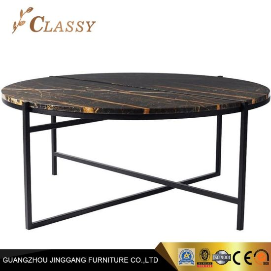 China Black Metal Base Marble Top Round Living Room Coffee Table