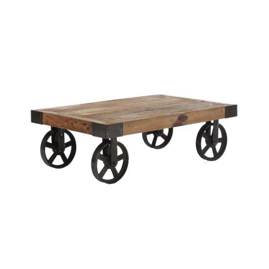 China Industrial Rustic Cart Coffee Table On Wheels Casters