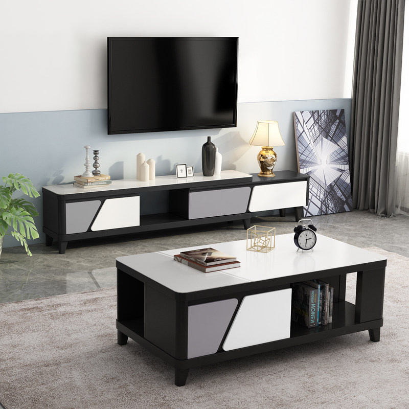 China Living Room Black White Simple Nordic Modern Wooden Glass