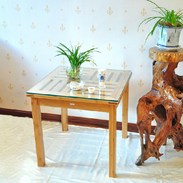 China Glass Top Side Bamboo Coffee Table For Dining China Bamboo