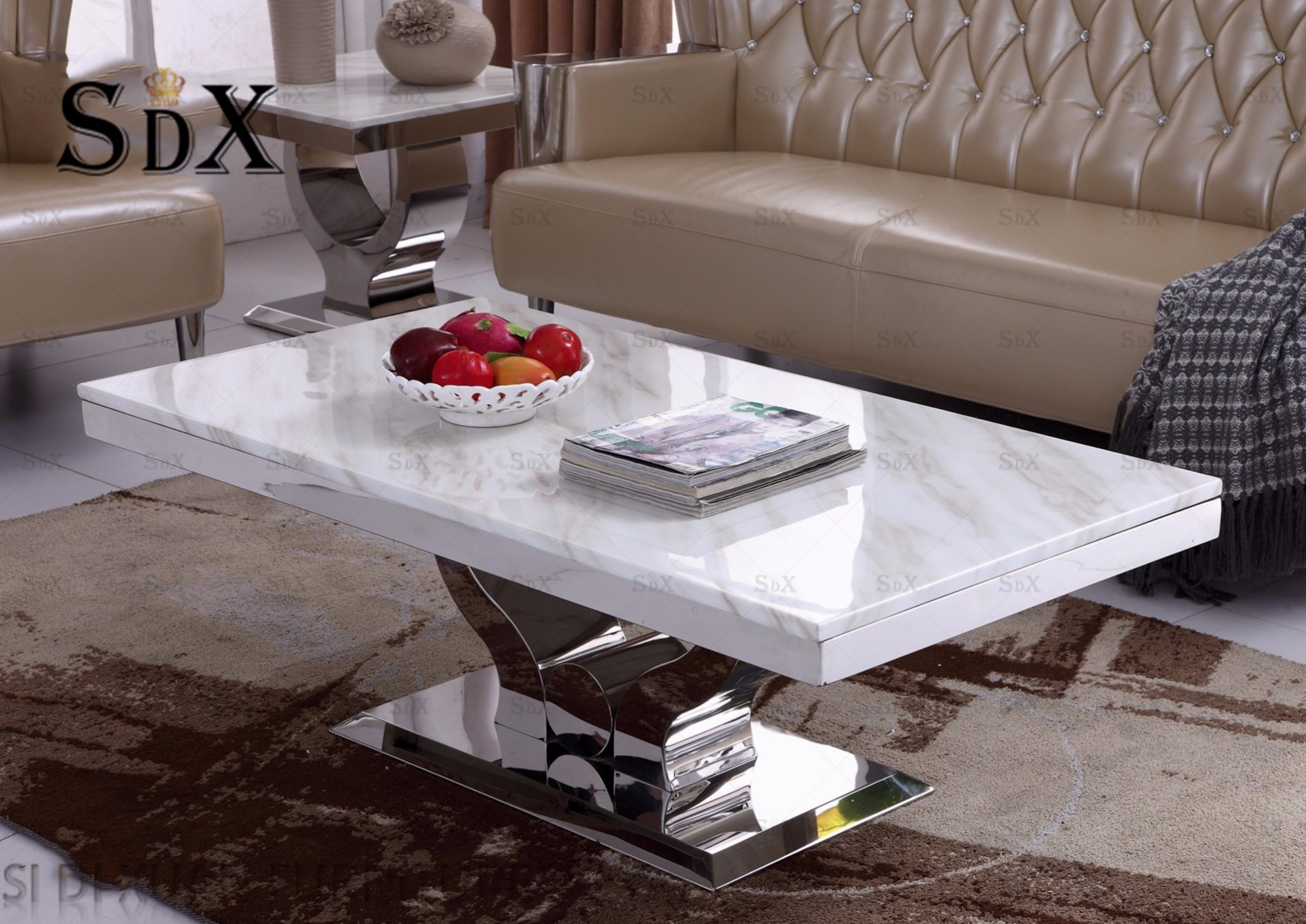 China Simple Design Marble Top Polished Stainless Steel Coffee
