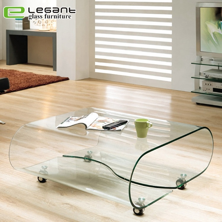 China Industrial Style Living Room Glass Coffee Table With Wheel