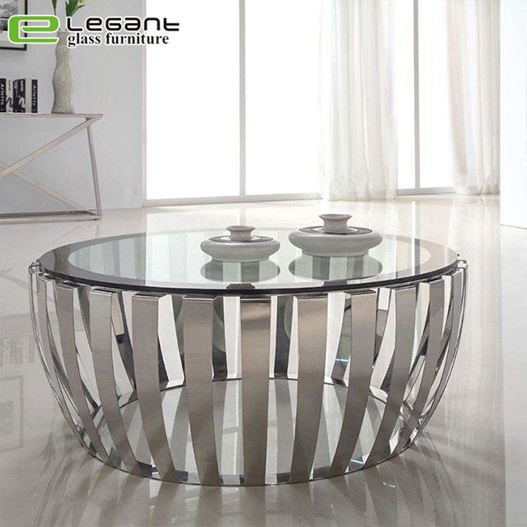 China Modern Round Clear Tempered Glass Coffee Table With
