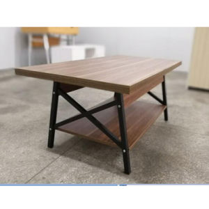 China Modern Living Room Steel Legs Wooden Top Coffee Tables