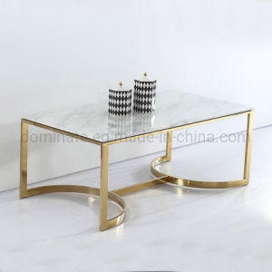 China Rectangular Stainless Steel Marble Top Coffee Table China