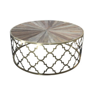 China Stainless Steel Metal Golden Reclaimed Round Coffee Table