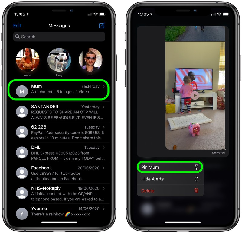2how to pin conversations in messages ios
