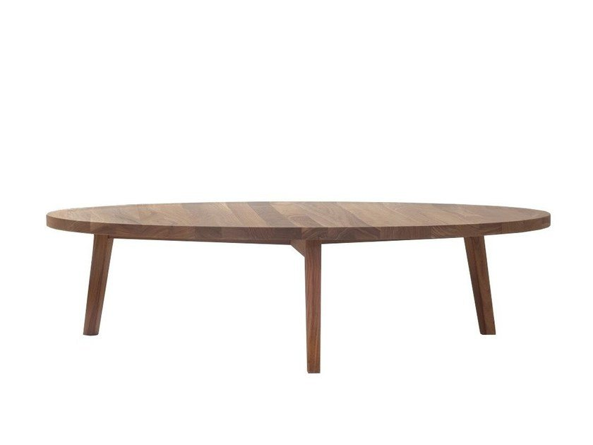 Low Round Wooden Coffee Table Gray 49 49 R By Gervasoni Design