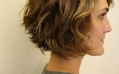 Angled Brunette Bob Hairstyles with Messy Curls