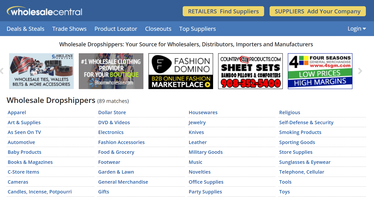 search for drop shipping suppliers on wholesalecentral