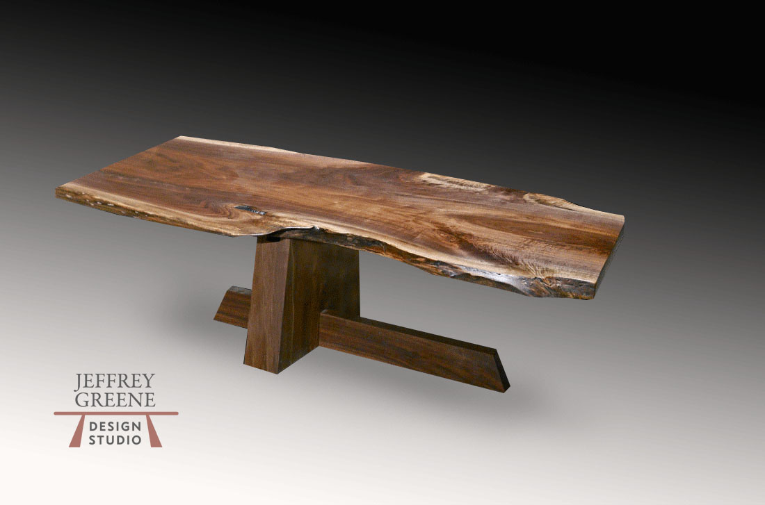 Live Edge Black Walnut Wood Slab Shinto Coffee Table Jeffrey
