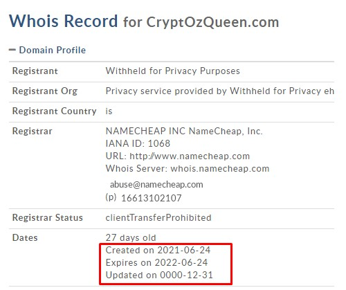 Cryptozqueen domain registration