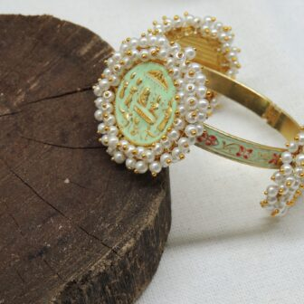 Traditional Ancient Handcrafted Gold Plated Mint Meenakari Pearl