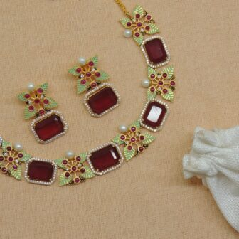 Handcrafted Meenakari Stone Necklace With Earrings 1