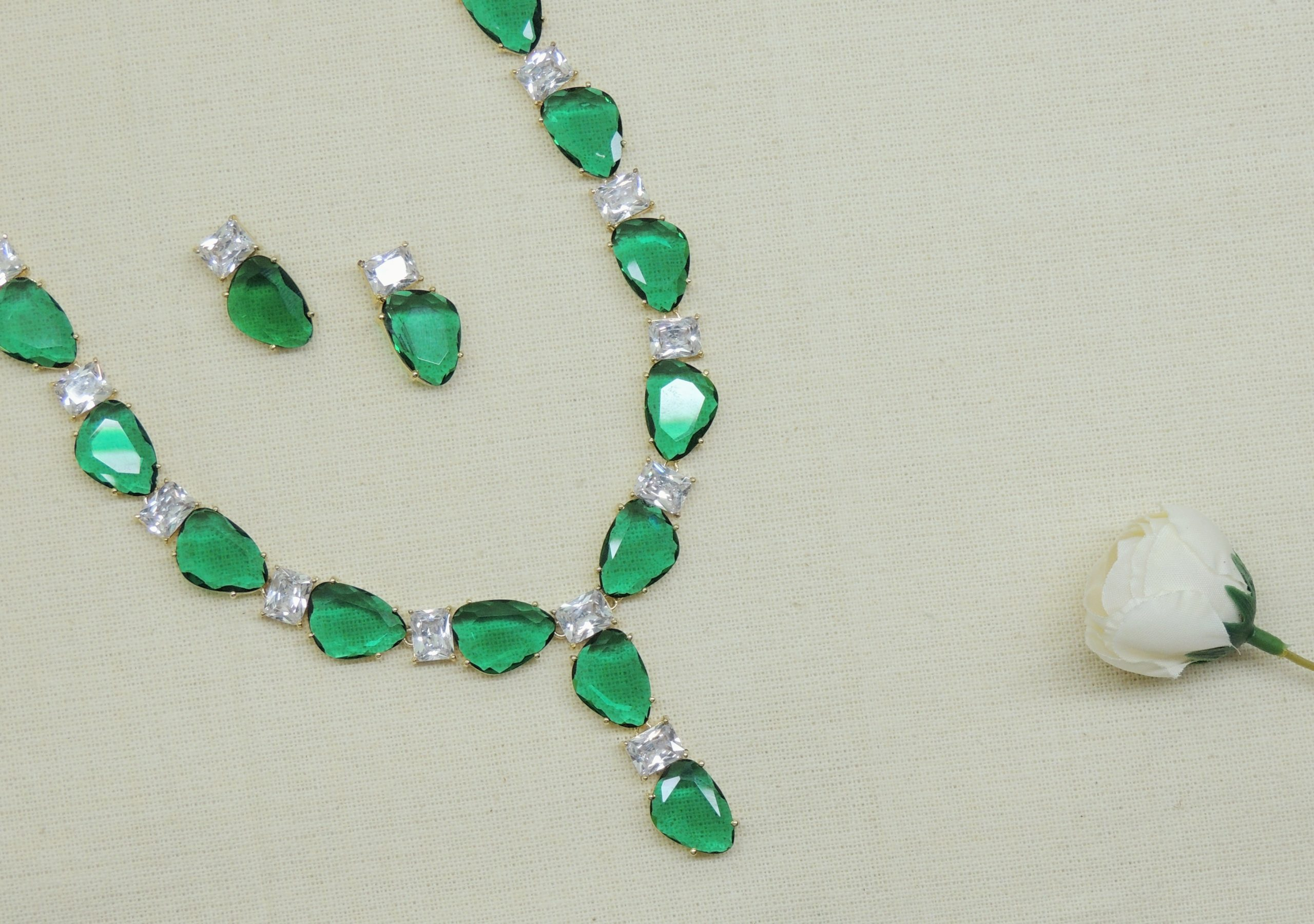 Statement Bottle Green Colour Stone Necklace With Studs