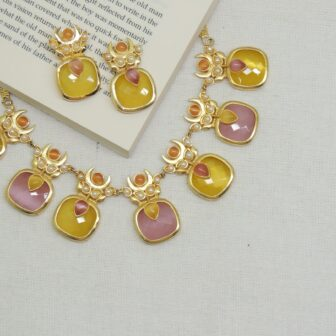 Matte Gold Plated Pink-Yellow Stone Necklace With Studs 1