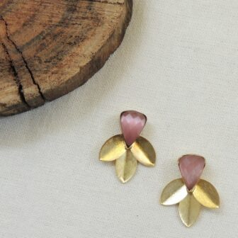 Handcrafted Gold Plated Shined Leaf Studs 1