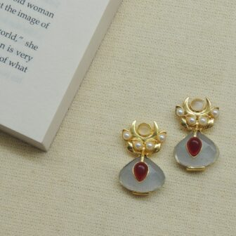 Transparent Blue & Ruby Gold Plated Studs 1