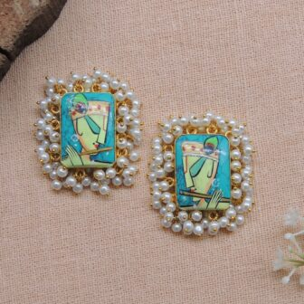 Hand-painted Krishna Gold Plated Studs 1