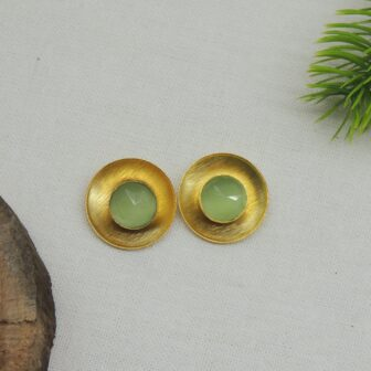 Gold Plated Casual Wear Pista Stone Studs 1