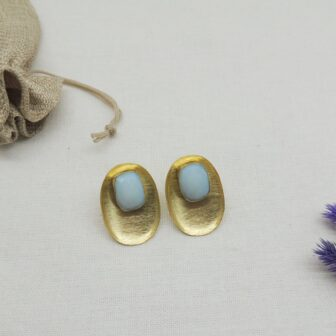 Sky Blue Octagon Gold Plated Studs 1