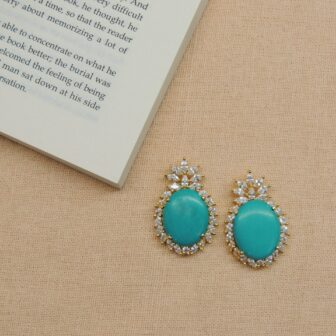 Gold Plated Firoza & White Colour Stone Earring 1