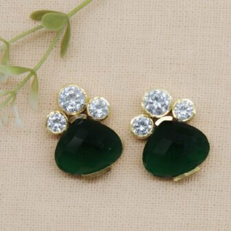 Traditional Emerald Colour Stone Earring 1