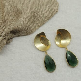 Handcrafted Gold Plated Bottle Green Paan Stone Earring