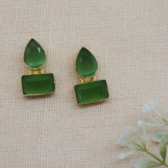 Gold Plated Pista Green Colour Stone Earring 1