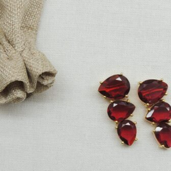 Transparent Ruby Colour Stone Gold Plated Earring