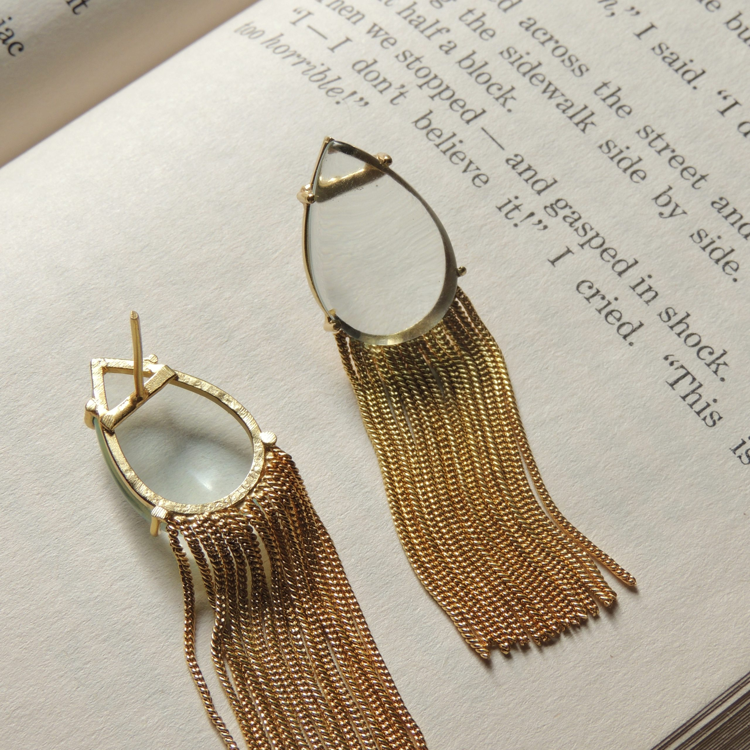 Western White Transparent Chain Earring 2