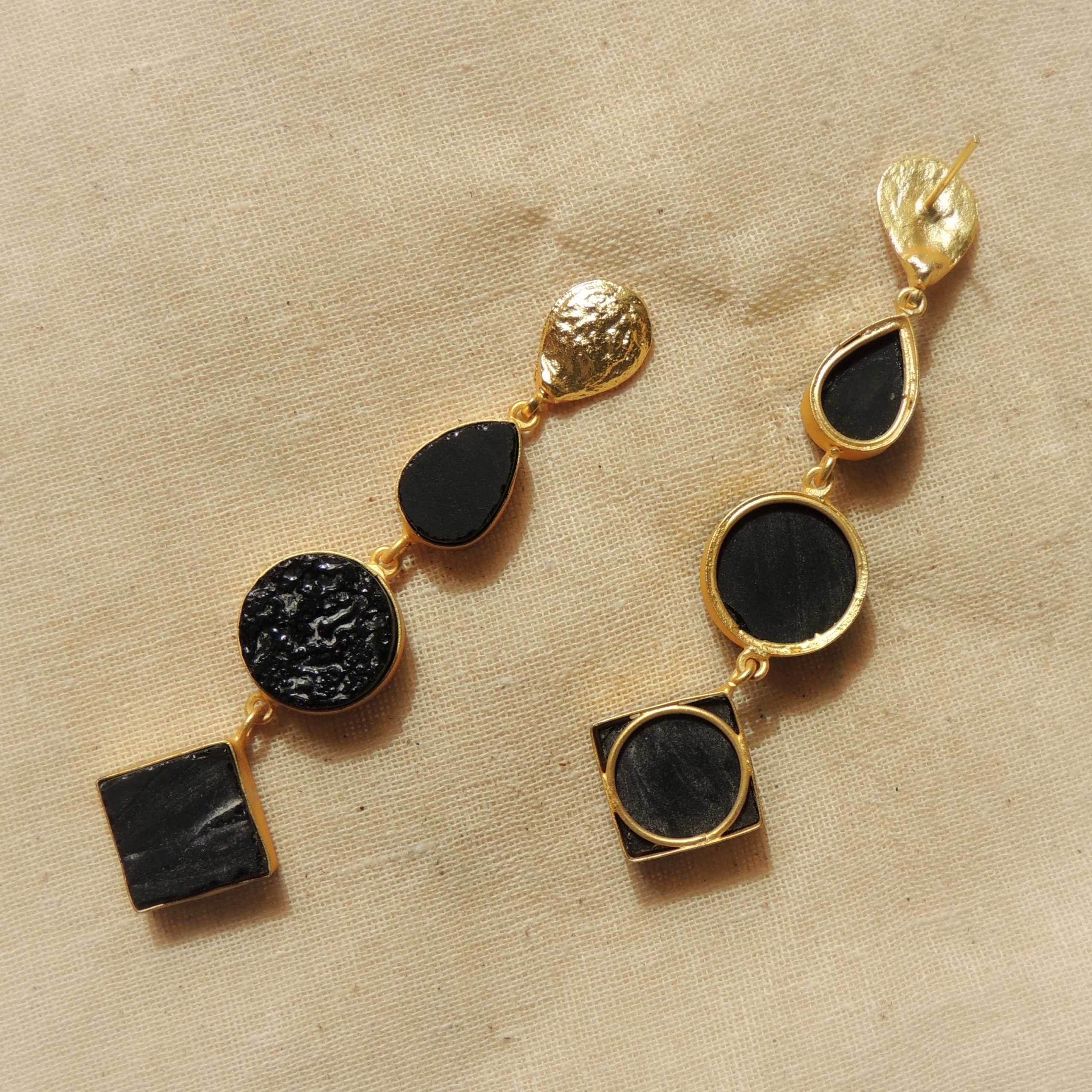 Western Tri Different Shape Natural Stone Earring 2