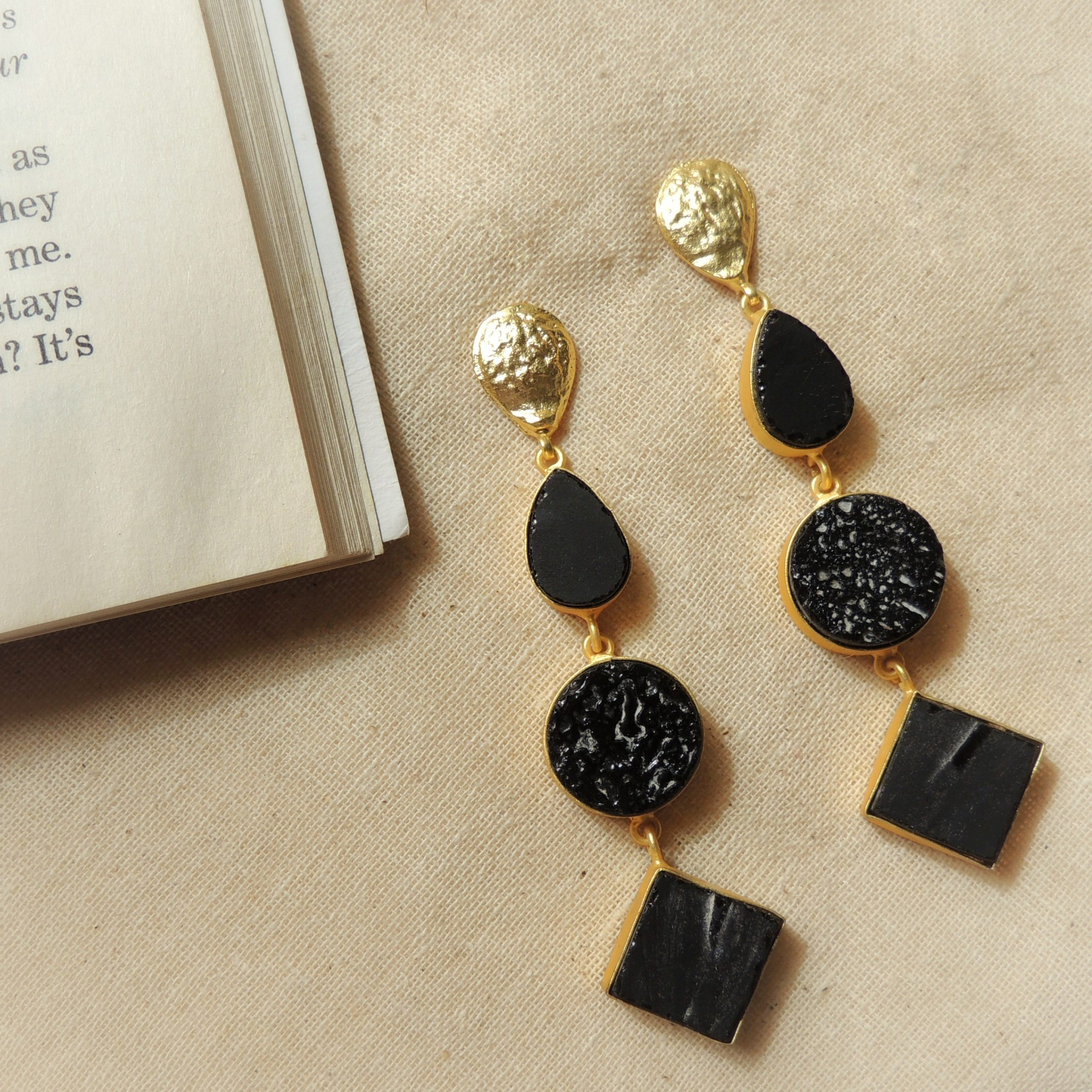 Western Tri Different Shape Natural Stone Earring 1