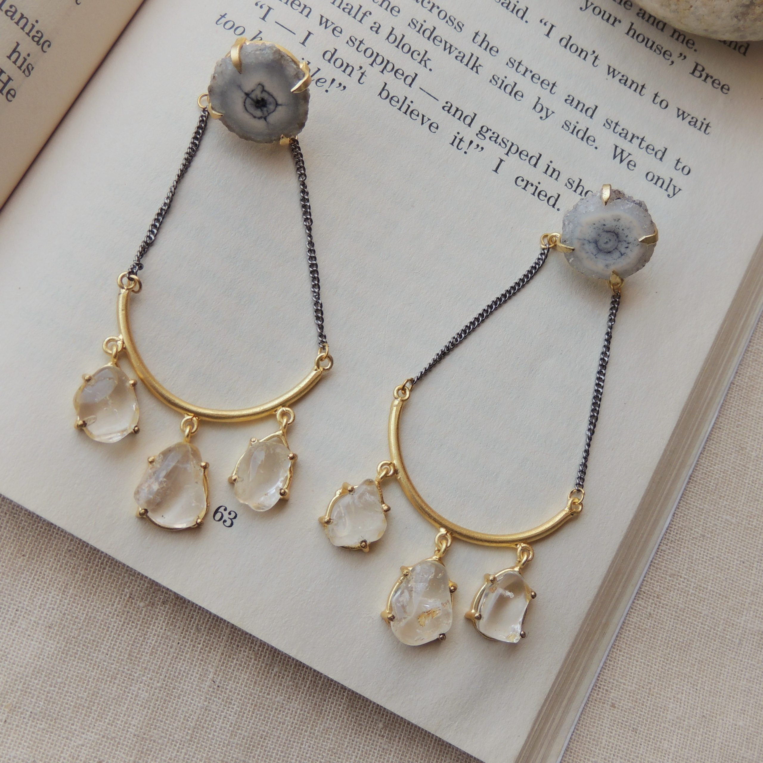 Dual Plated Western Natural Stone Statement Earring 1