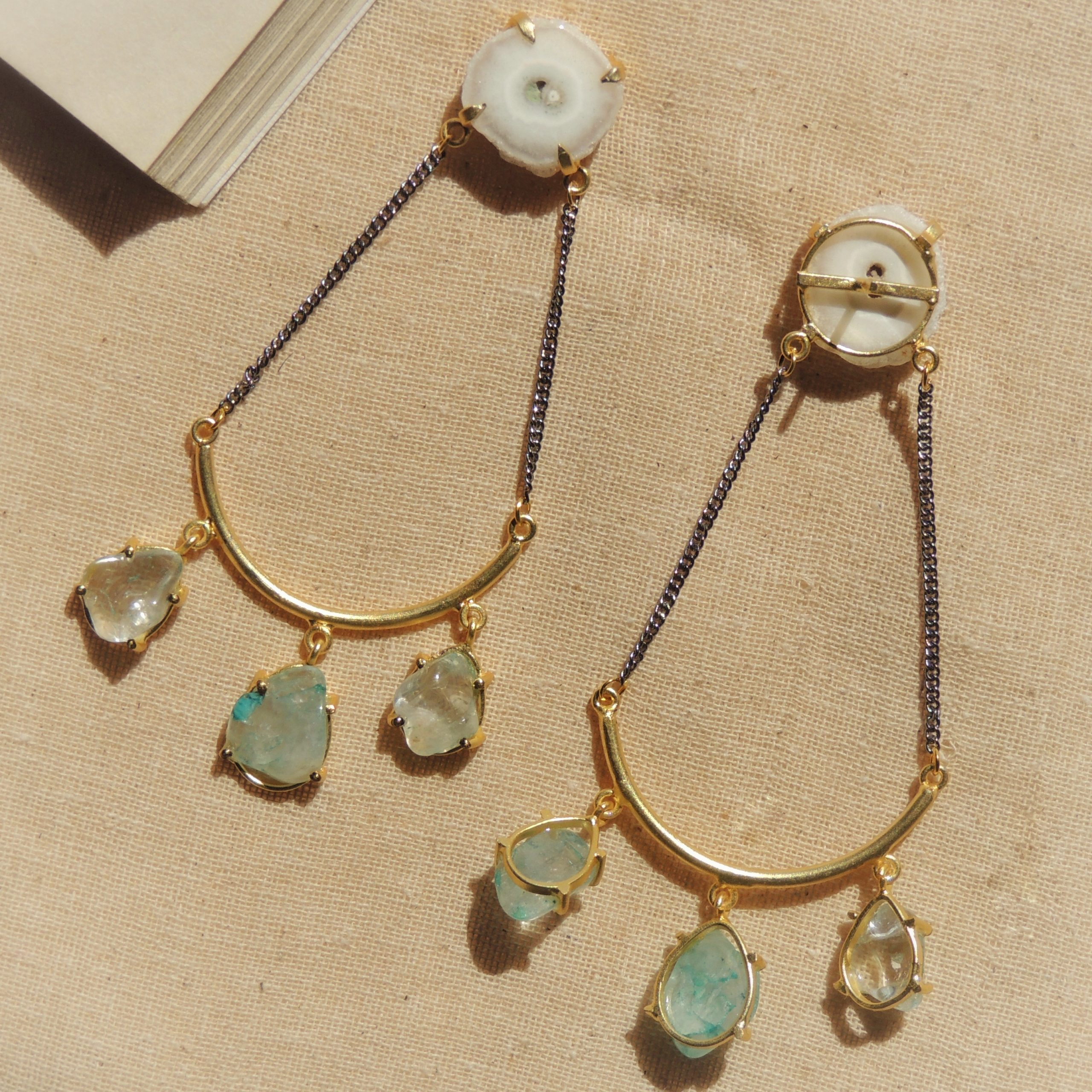 Dual Plated Western Natural Stone Statement Earring