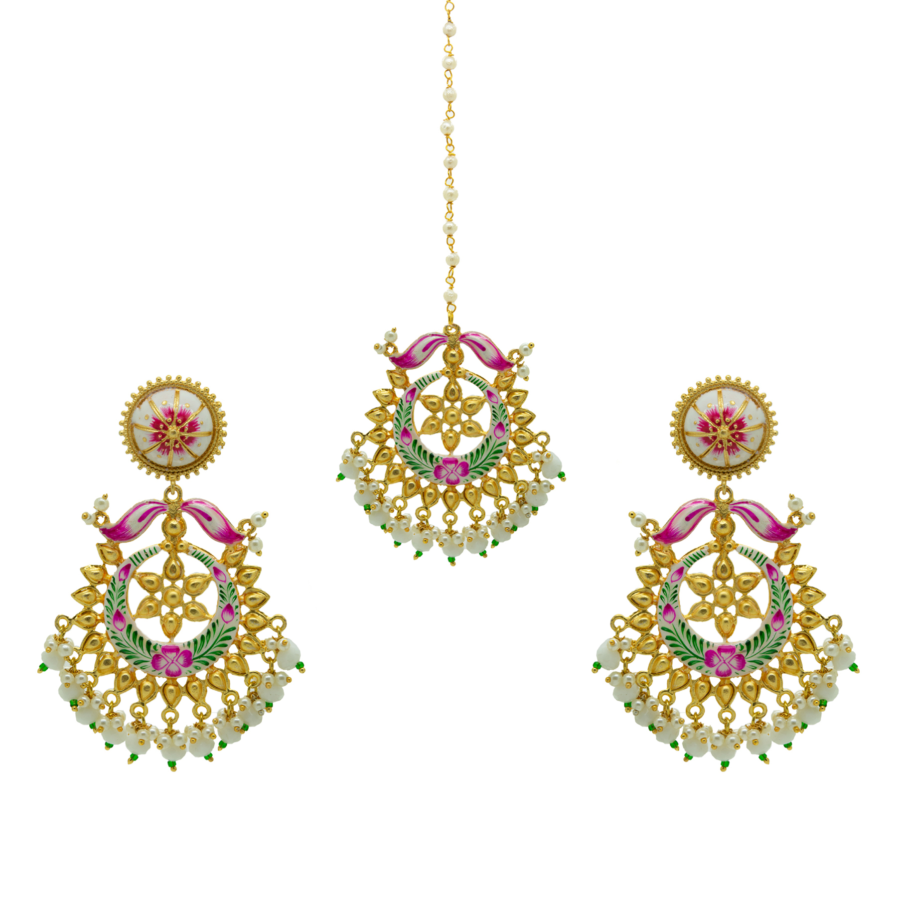 Trendy Floral Hand Painted Gold Plated Maang Tikka Set 1
