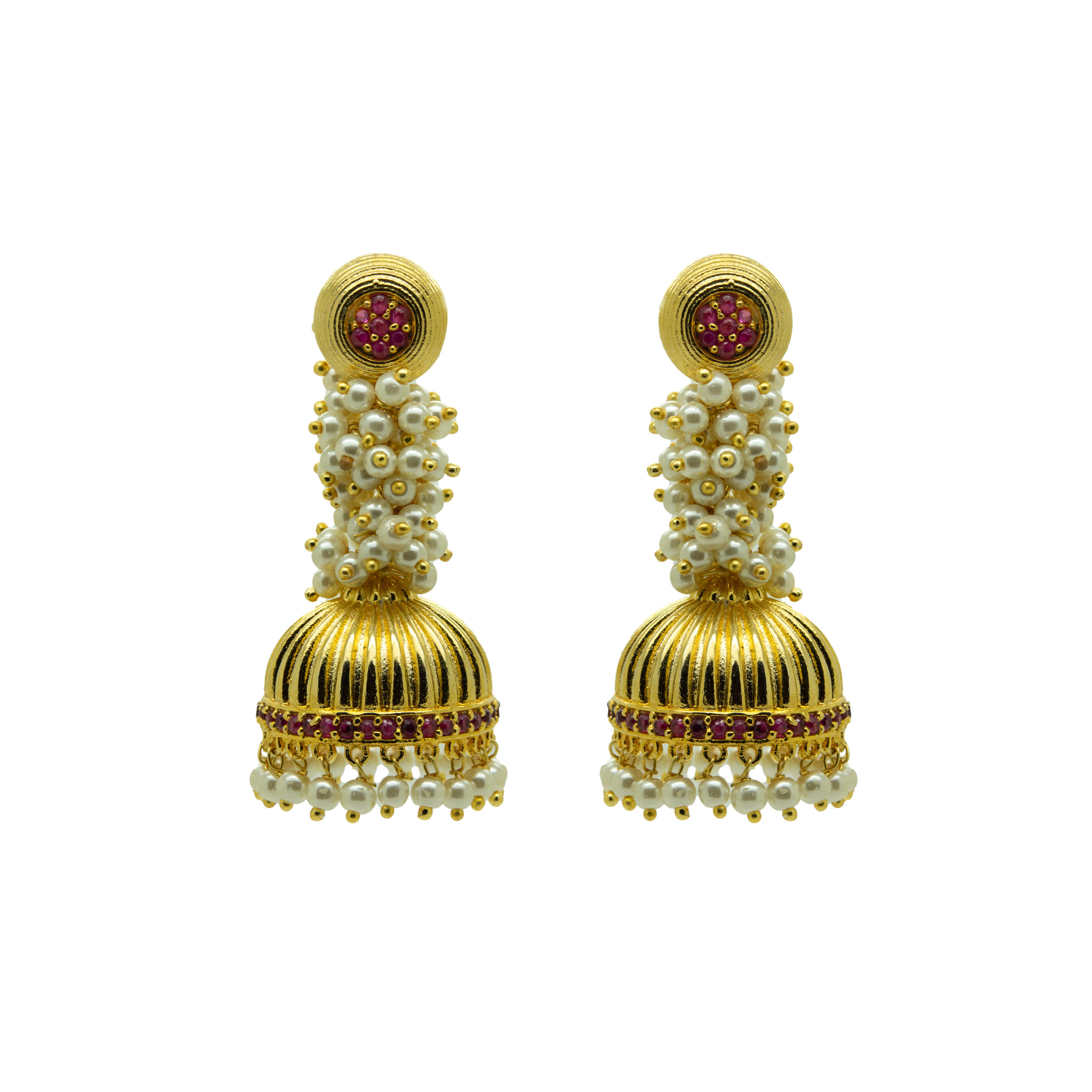 Traditional Gold Plated CZ Pearl Jhumka 1