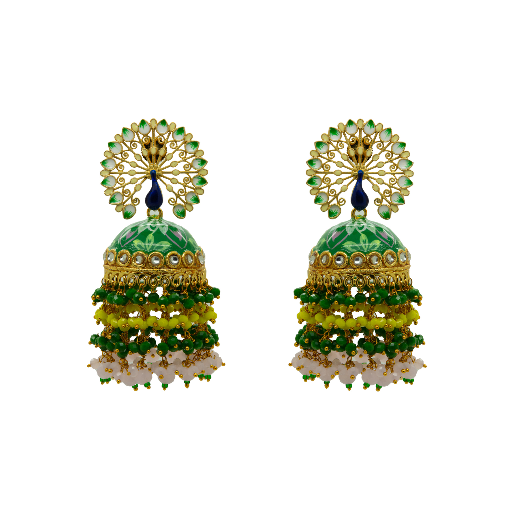 Peacock Green Floral Hand Painted Colour-Full Beads Jhumka 1