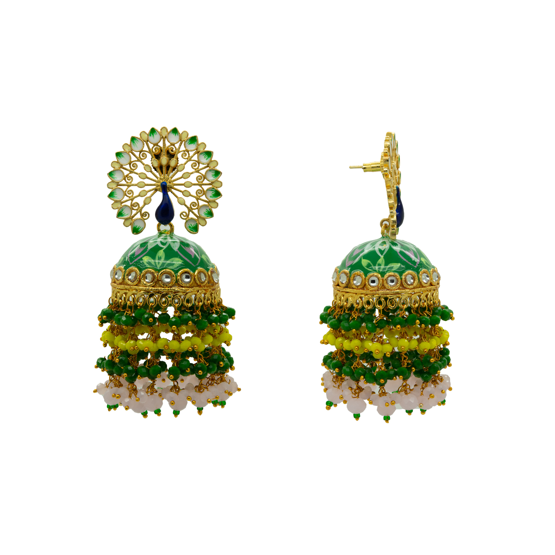 Peacock Green Floral Hand Painted Colour-Full Beads Jhumka 2