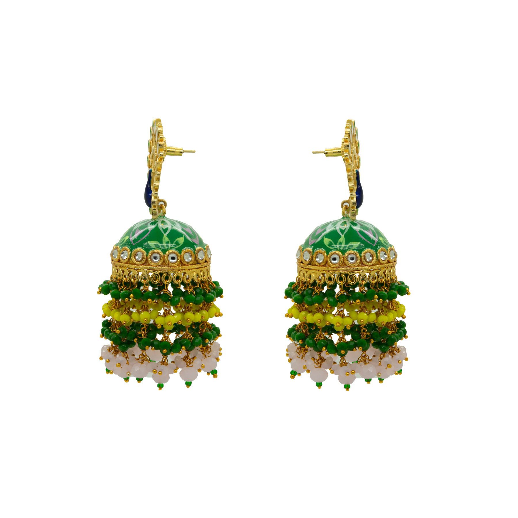 Peacock Green Floral Hand Painted Colour-Full Beads Jhumka