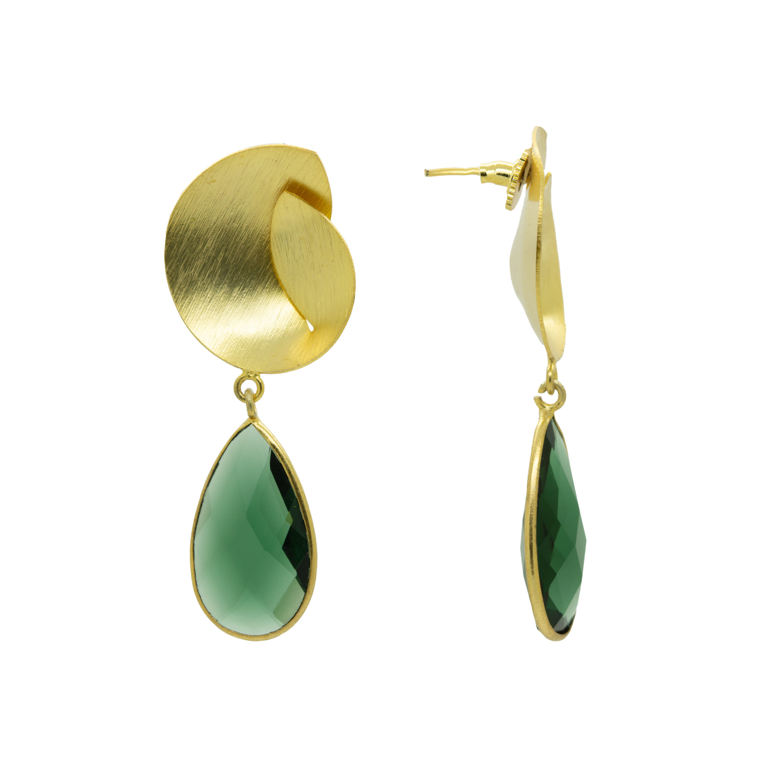 Handcrafted Gold Plated Bottle Green Paan Stone Earring 2
