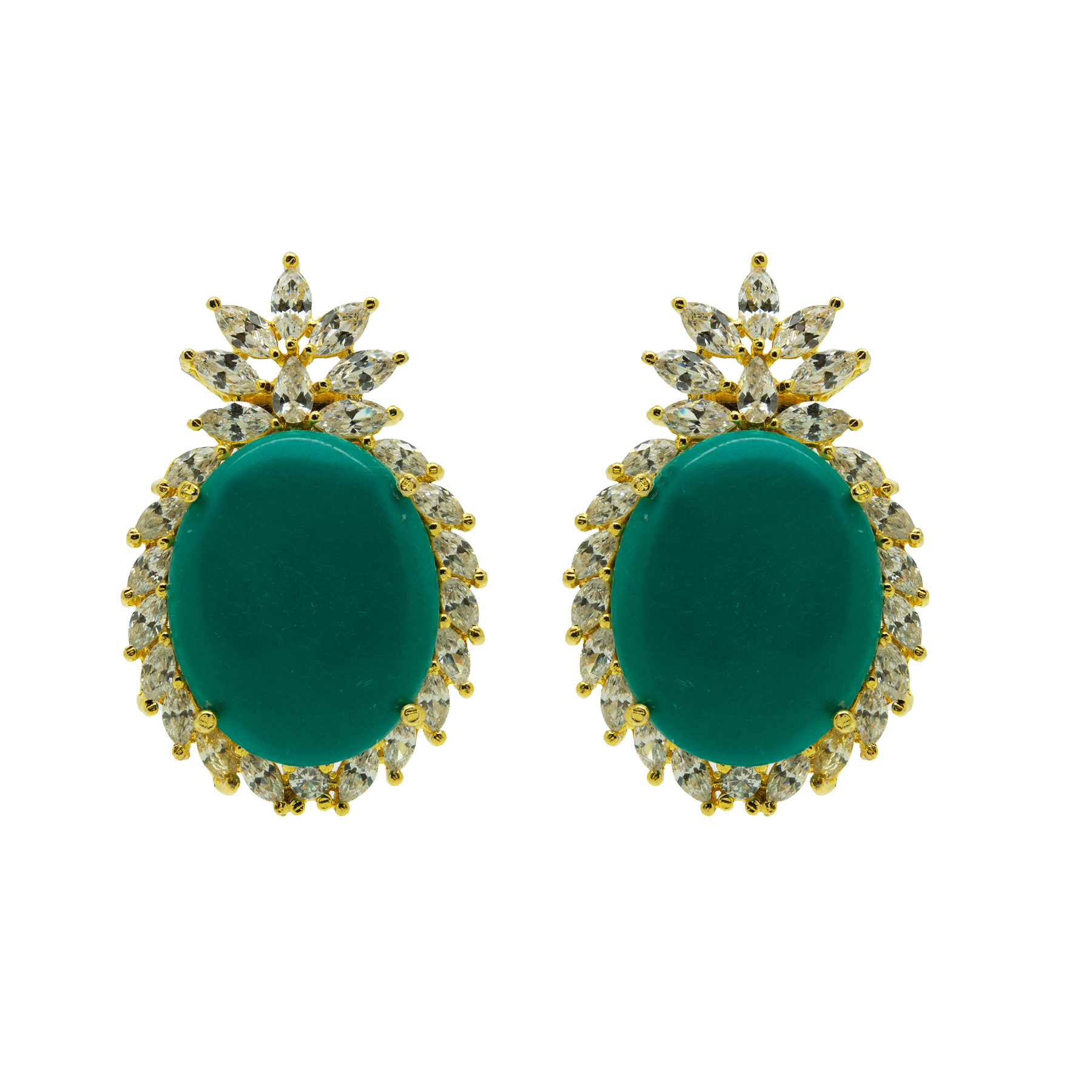 Gold Plated Firoza & White Colour Stone Earring 2
