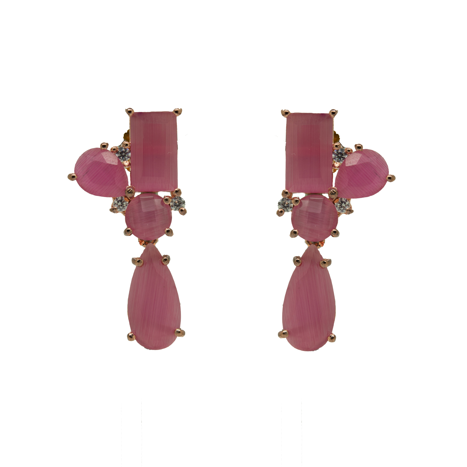 Stylish Rose-Gold Plated Pink Colour Stone Earring 2