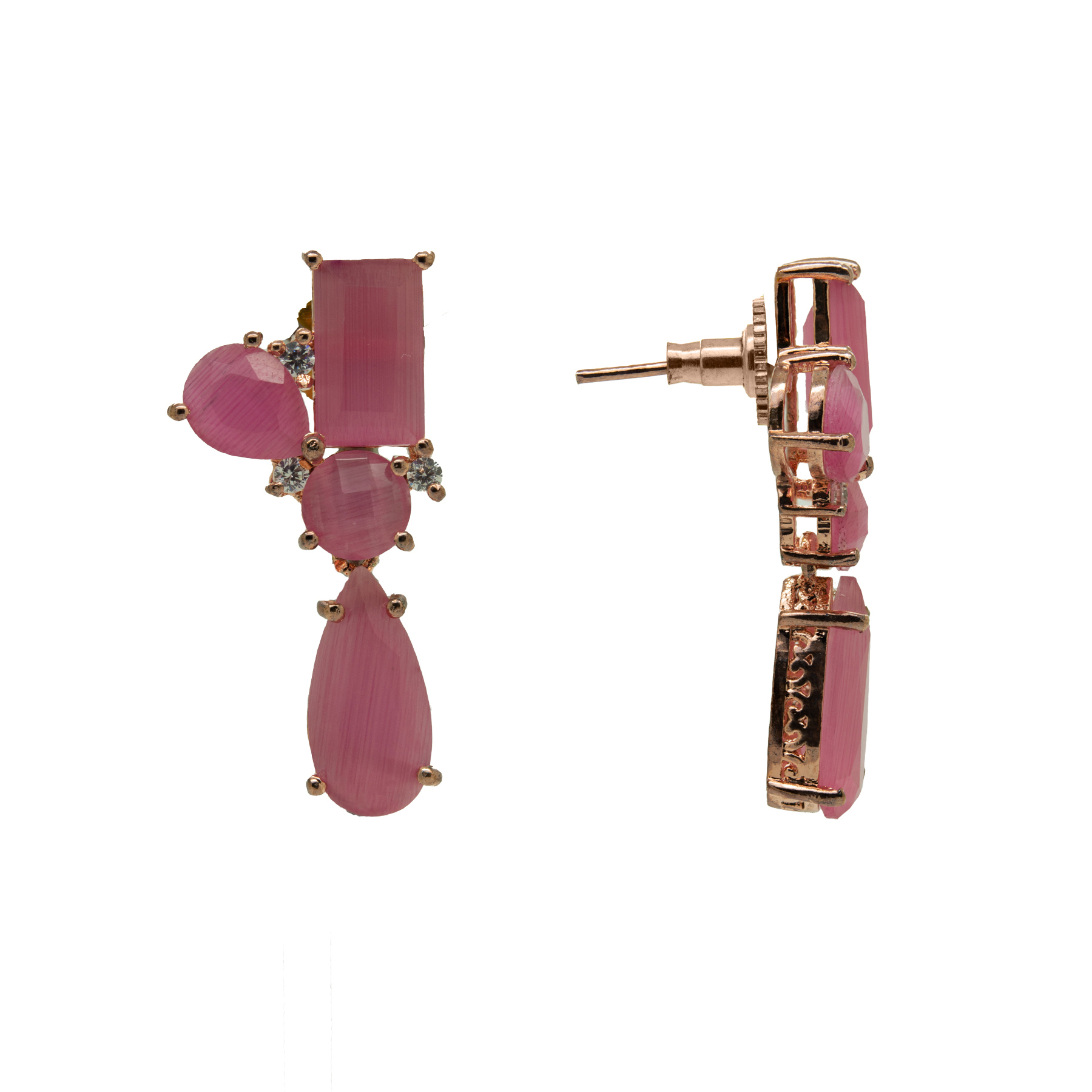 Stylish Rose-Gold Plated Pink Colour Stone Earring