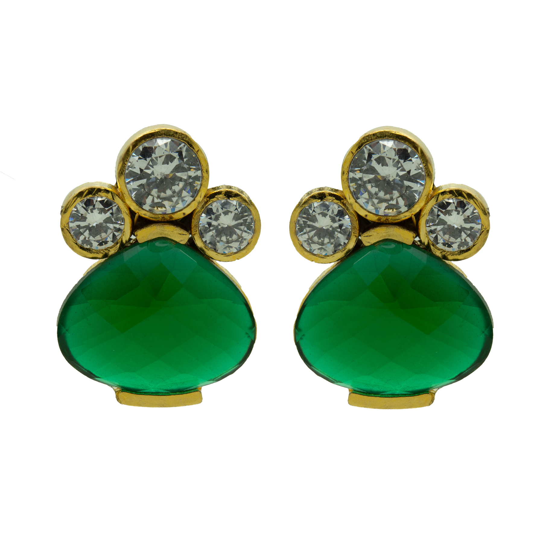 Traditional Emerald Colour Stone Earring 2