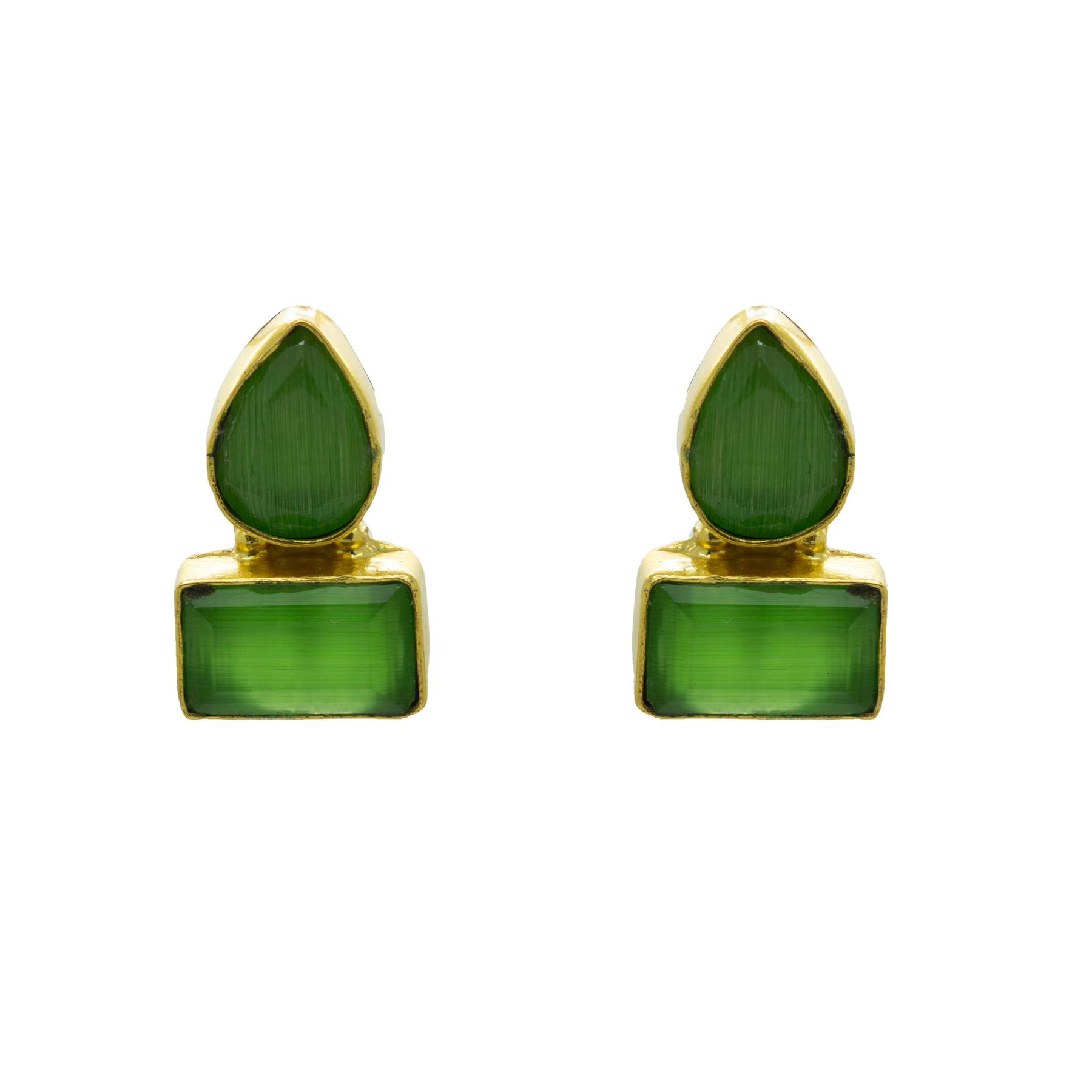 Gold Plated Pista Green Colour Stone Earring 2