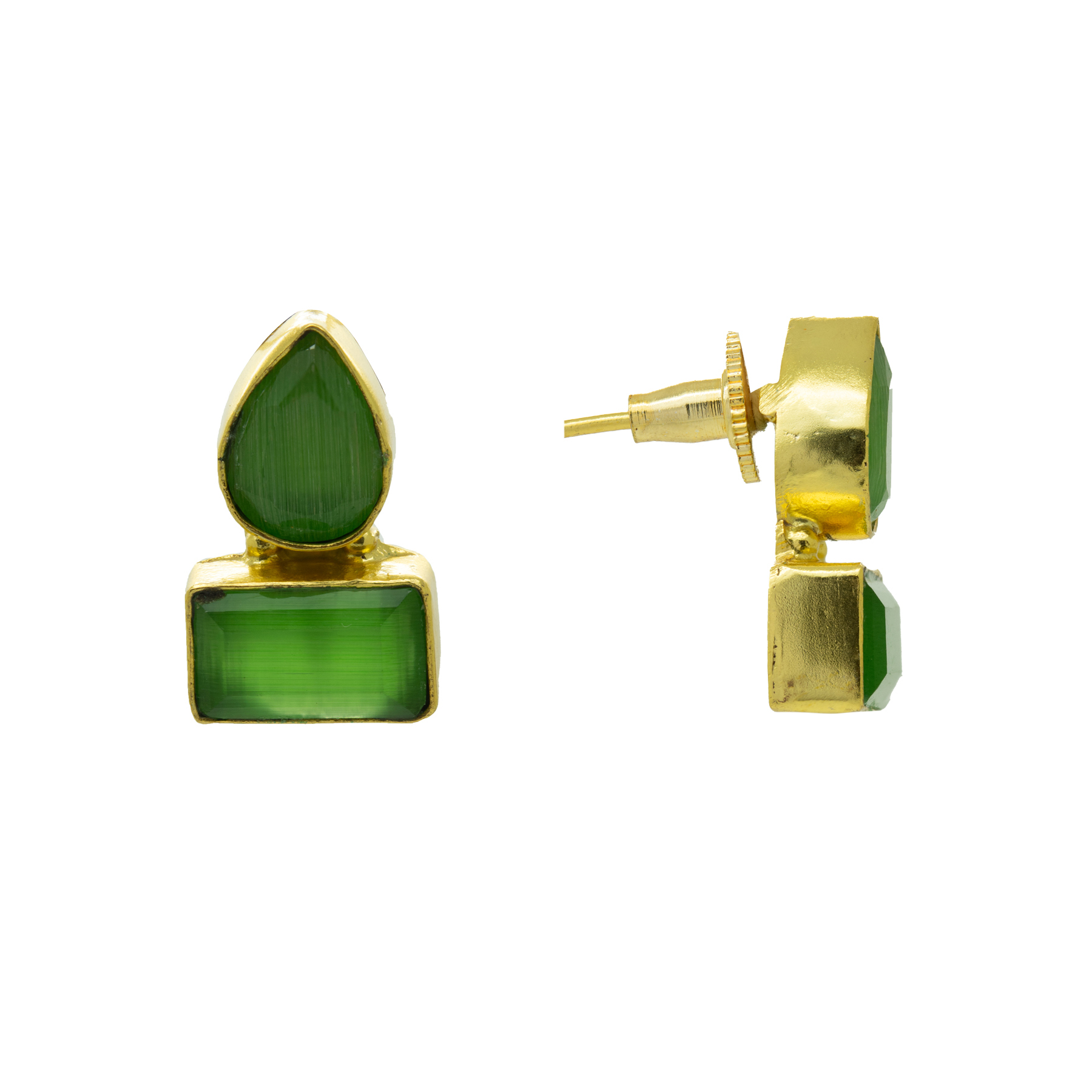 Gold Plated Pista Green Colour Stone Earring