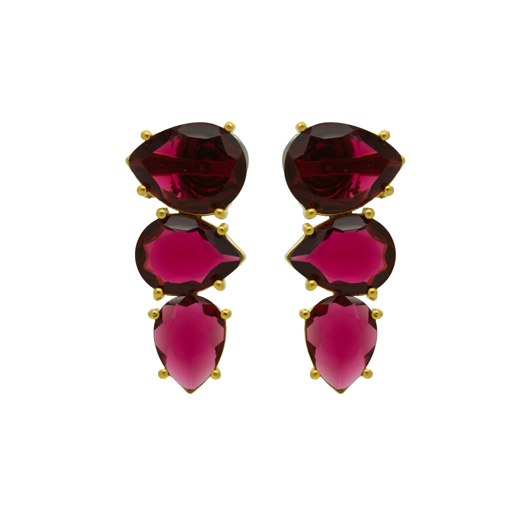 Transparent Ruby Colour Stone Gold Plated Earring 2