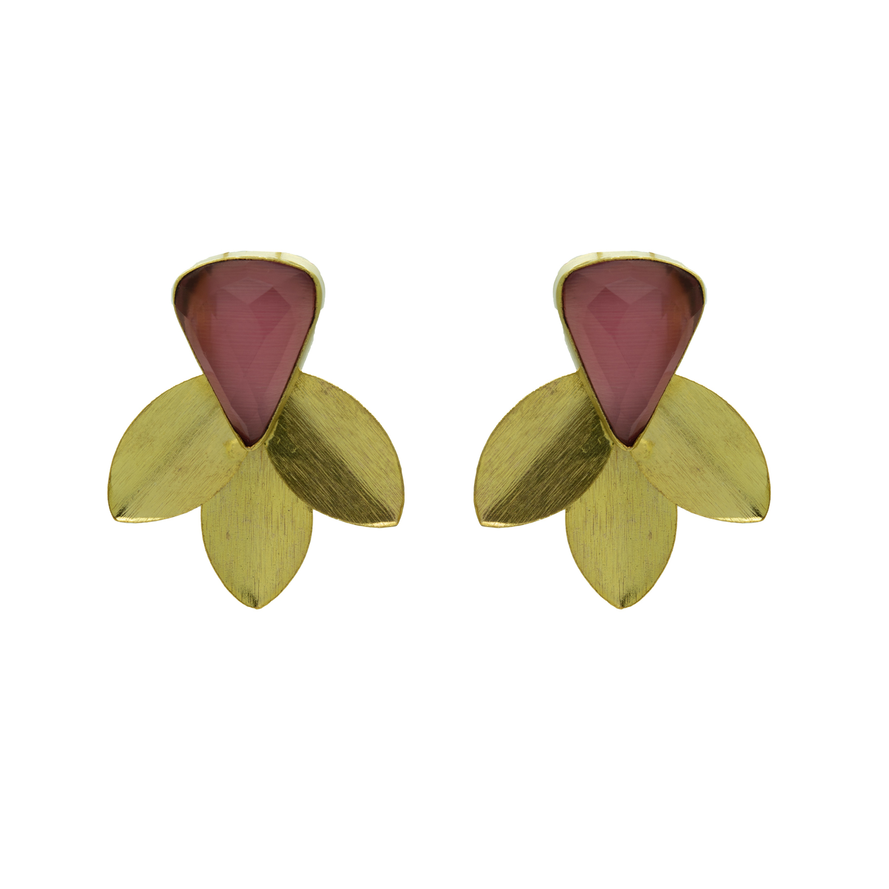 Handcrafted Gold Plated Shined Leaf Studs 2