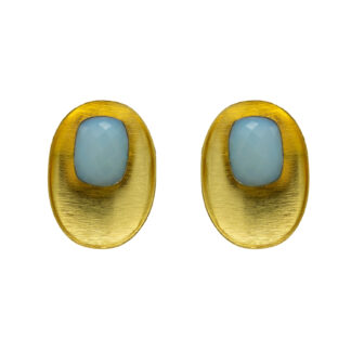 Sky Blue Octagon Gold Plated Studs 2